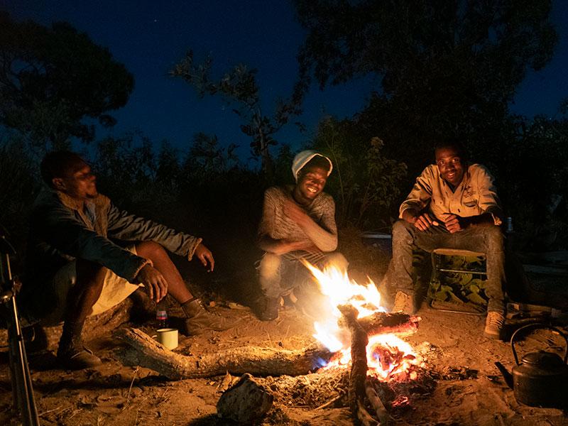 Campfire near Mokoro Delta